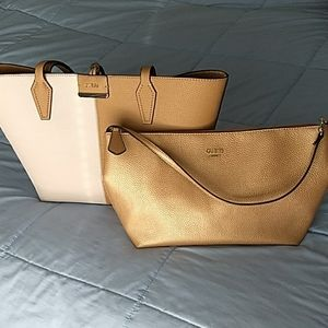 Reversible tote and matching shoulder bag, EUC